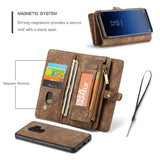 CaseMe For Samsung Galaxy S9 Plus Zipper Wallet Magnetic Folio Case Detachable 2 in 1 Back Cover