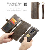 CaseMe For Samsung Galaxy S9 Plus Wallet Magnetic Case With Wrist Strap Detachable 2 in 1 Back Cover