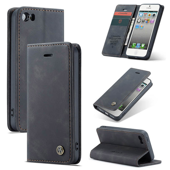 CaseMe For iPhone 5/5S Retro Wallet Kickstand Magnetic Flip Leather Case