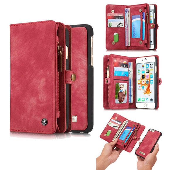 CaseMe For  iPhone 6/6s Zipper Wallet Magnetic Folio Case Detachable 2 in 1 Back Cover