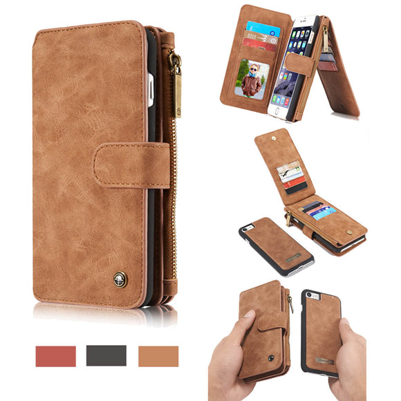 CaseMe For iPhone 6 Plus/6s Plus Zipper Wallet Flip Folio Case Magnetic Detachable 2 in 1 Back Cover