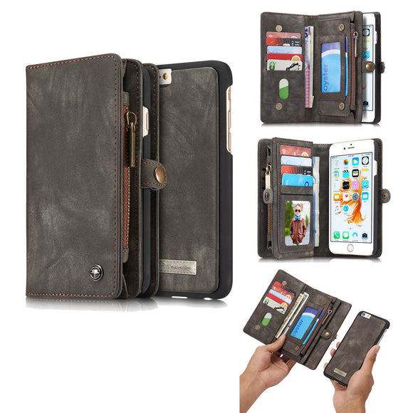 CaseMe For iPhone 6 Plus/6s Plus Zipper Wallet Magnetic Folio Case Detachable 2 in 1  Cover