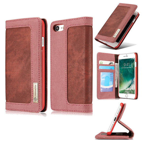 CaseMe For  iPhone 7/8 Canvas Leather Wallet Stand Magnetic Flip Case