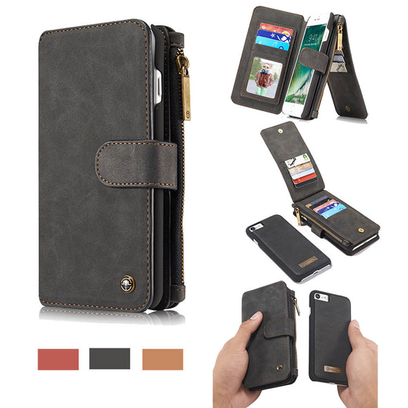 CaseMe For iPhone 7/8 Zipper Wallet Flip Folio Case Magnetic Detachable 2 in 1 Back Cover