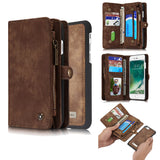 CaseMe For  iPhone 7/8 Zipper Wallet Magnetic Folio Case Detachable 2 in 1