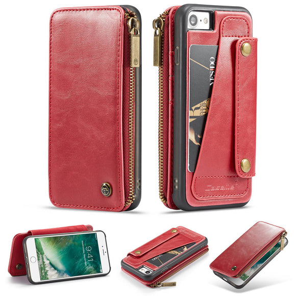 CaseMe For  iPhone 7/8 Business Zipper Wallet Detachable 2 in 1 Case