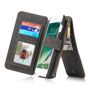 CaseMe  For iPhone 7 Plus/8 Plus Zipper Wallet Flip Folio Case Magnetic Detachable 2 in 1 Back Cover