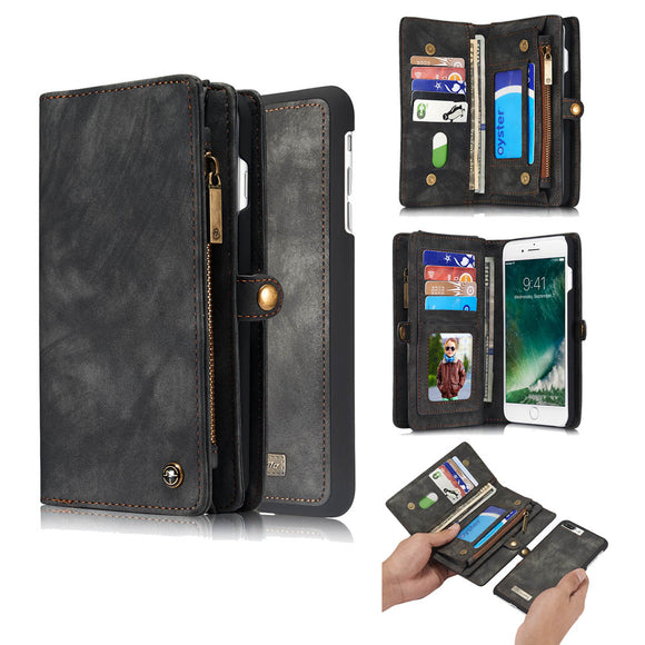 CaseMe For iPhone 7 Plus/8 Plus Multi-slot Zipper Wallet Folio Case Magnetic Detachable 2 in 1 Back Cover