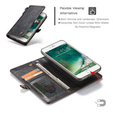 CaseMe For iPhone  7 Plus/8 Plus Wallet Magnetic Case With Wrist Strap Detachable 2 in 1 Back Cover