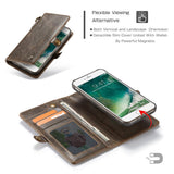 CaseMe For iPhone 7/8 Wallet Magnetic Case With Wrist Strap Detachable 2 in 1 Back Cover