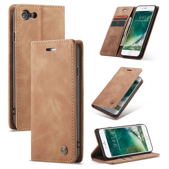 CaseMe For iPhone 7/8 Retro Wallet Kickstand Magnetic Flip Leather Case