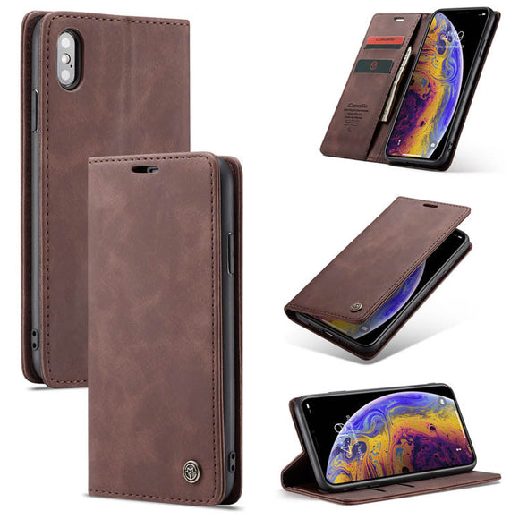 CaseMe For  iPhone X/XS Retro Wallet Kickstand Magnetic Flip Leather Case