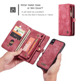 CaseMe For iPhone XR Zipper Wallet Magnetic Folio Case Detachable 2 in 1 Back Cover