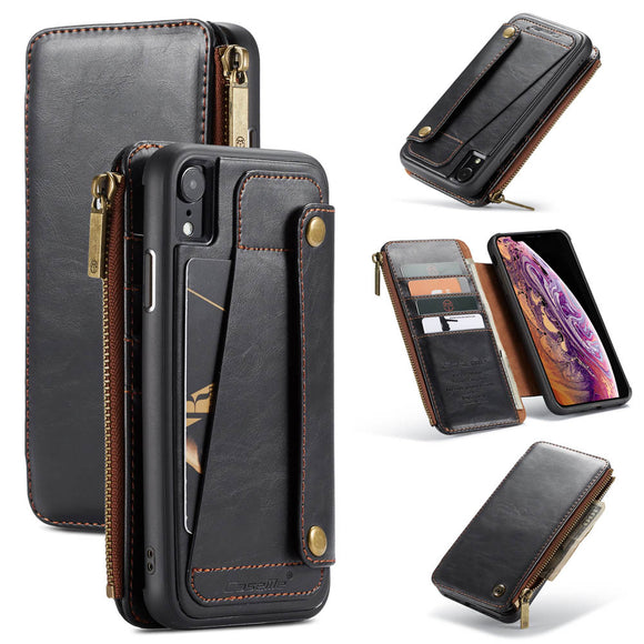 CaseMe For iPhone XR Business Zipper Wallet Detachable 2 in 1 Case