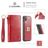 CaseMe For iPhone XR Wallet Magnetic Case With Wrist Strap Detachable 2 in 1 Back Cover