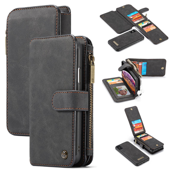 CaseMe For iPhone XS/X Zipper Wallet Magnetic Flip Folio Case Detachable 2 in 1 Back Cover
