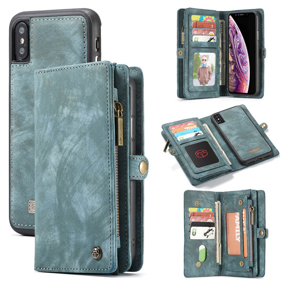 CaseMe For iPhone XS/X Zipper Wallet Folio Case Magnetic Detachable 2 in 1 Back Cover