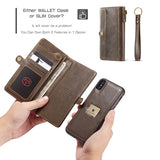 CaseMe For iPhone XS/X Wallet Magnetic Case With Wrist Strap Detachable 2 in 1 Back Cover