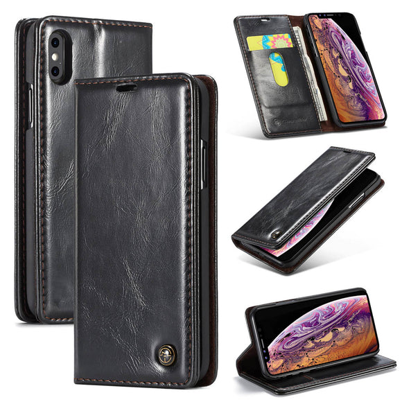 CaseMe For iPhone XS/X Magnetic Flip Wallet Stand Case