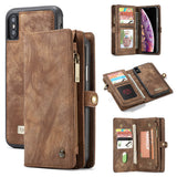CaseMe For iPhone XS Max Zipper Wallet Magnetic Folio Case Detachable 2 in 1