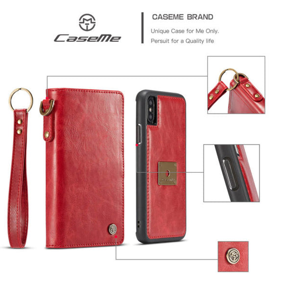 CaseMe For iPhone XS Max Wallet Magnetic Case With Wrist Strap Detachable 2 in 1 Back Cover
