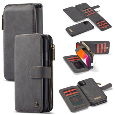 CaseMe For iPhone 11 Detachable 2 in 1 Zipper Leather Wallet Case