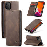 CaseMe For iPhone 11 Retro Matte Soft Leather Wallet Case