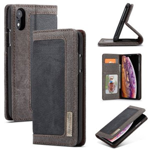 CaseMe For iPhone XR Canvas Leather Wallet Stand Magnetic Flip Case