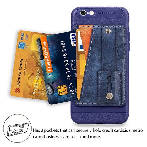 Cover with Credit Card Slots Kickstand and Wrist Strap Shockproof Stand Phone Case for iphone 6