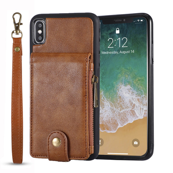 Zipper Wallet Leather Case For iPhone