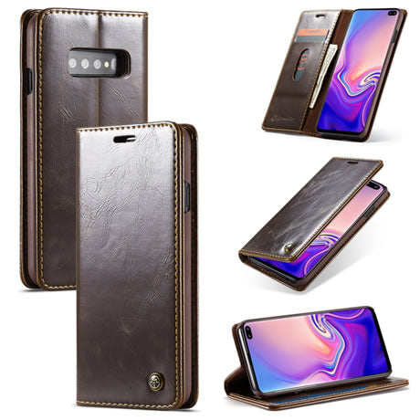 CaseMe For Samsung Galaxy S10 Plus Magnetic Flip Leather Wallet Case