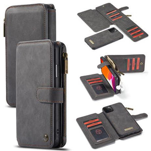 CaseMe For iPhone 11 Pro Max Detachable 2 in 1 Zipper Leather Wallet Case