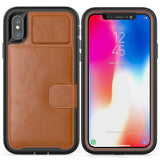 Leather Lion Head Wallet Shockproof Leather Defender Case with Credit Card Holder Slot for iPhone