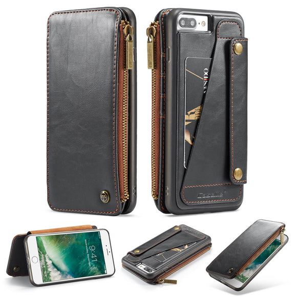 CaseMe For iPhone 7 Plus/8 Plus Business Zipper Wallet Detachable 2 in 1 Case