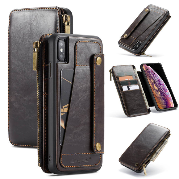CaseMe For iPhone XS/X Business Zipper Wallet Detachable 2 in 1 Case