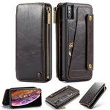 CaseMe For iPhone XS Max Business Zipper Wallet Detachable 2 in 1 Case