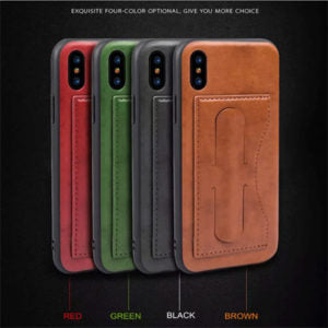 Card Slot PU Leather Kickstand Magnetic Case Cover for iPhone