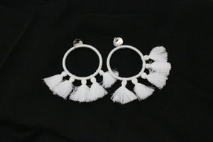White  5 tassel earrings
