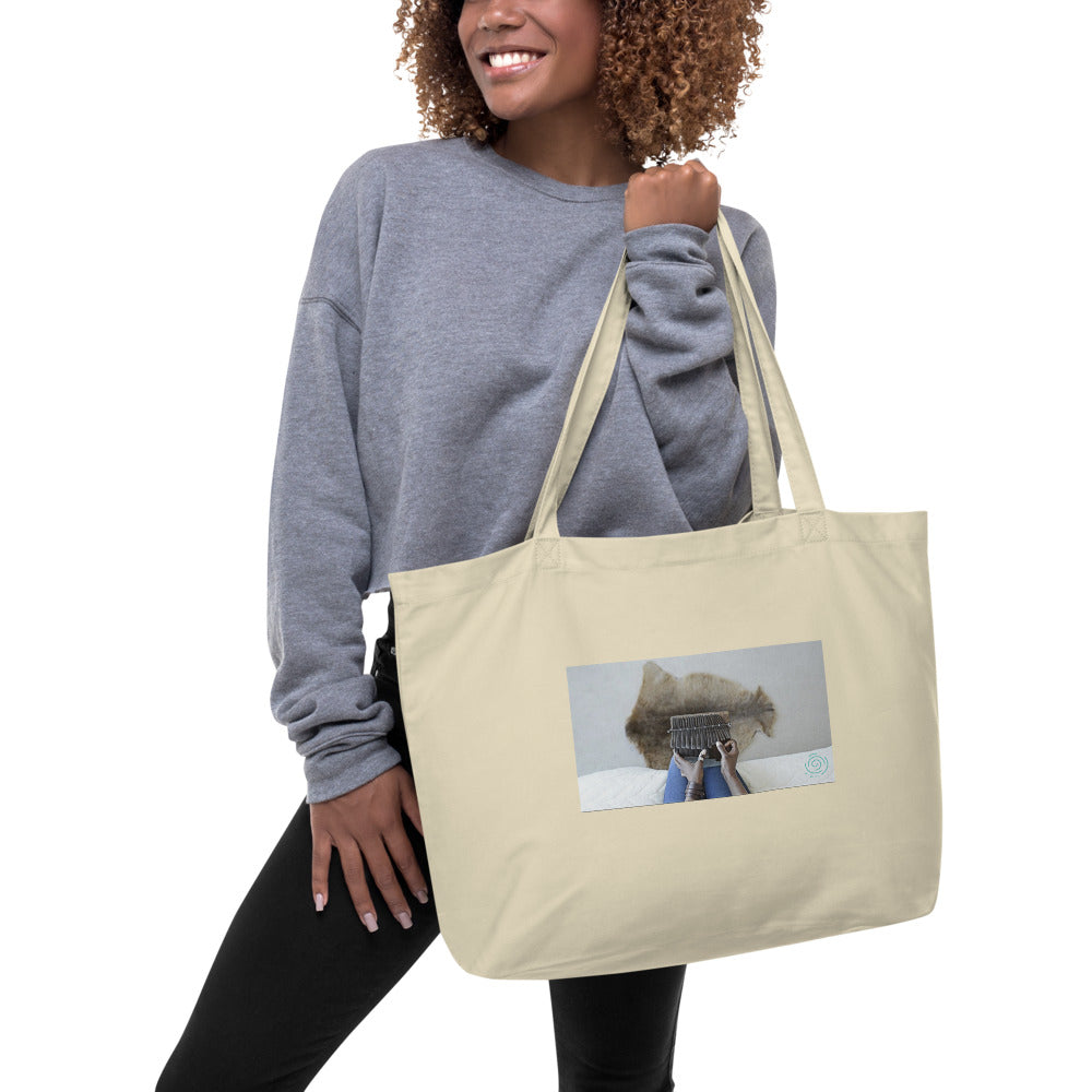 Large organic tote bag with mbira hands & dehwe/hide