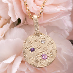 Pink and purple Sapphire and Diamond pendant in 9ct yellow gold