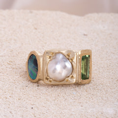 Australian Opal, Pearl and green Tourmaline ring in 9ct yellow gold