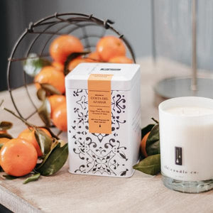 vetiver candle with orange flowers - TLC Candle Co.
