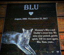 Load image into Gallery viewer, 3/8x12/12 Pet Memorial for Dog, Cat, laser-engraved on granite.