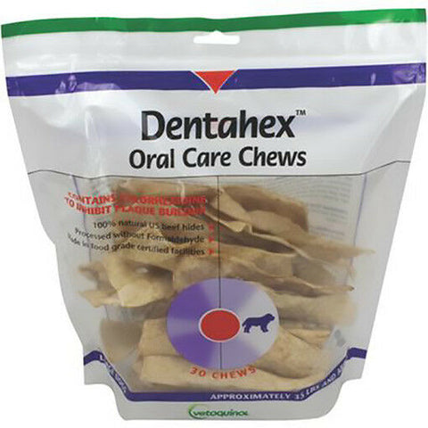 Vetoquinol Dentahex Oral Care Chews w/ Chlorhexidine Dogs 30 Ct., SML, MD or LRG