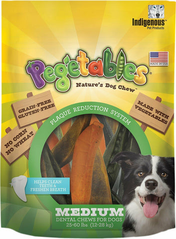 Pegetables Natural Dental Chew Treats (Medium Dogs 25 - 60 lbs) 8.7 oz bag