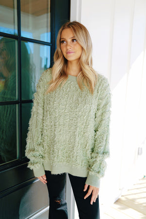 Fuzzy Sage Sweater