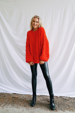 Bubble Sleeve Sweater - Red