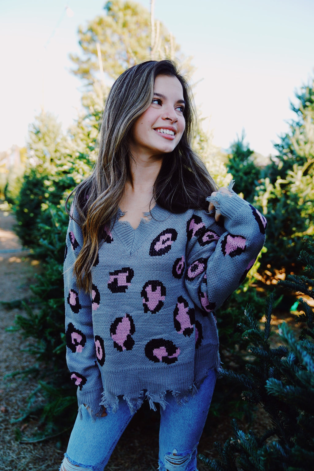 Spiced Cheetah Sweater - Gray