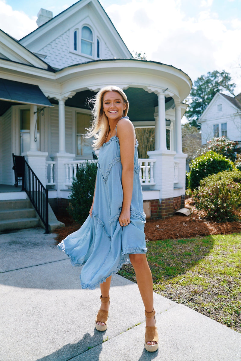 Free The People Maxi Dress- Dusty Blue