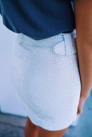 Sparkle & Shine Mini Skirt- White